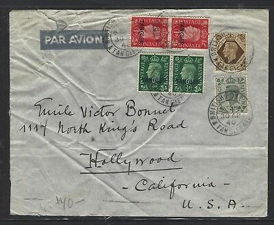 Morocco Agencies (P0110B) 1940 On Gb Cover Mix Frank To Usa