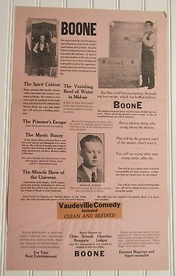 Antique 1930's Advertising Flyer Promoting The BOONE MAGIC & VAUDEVILLE SHOW
