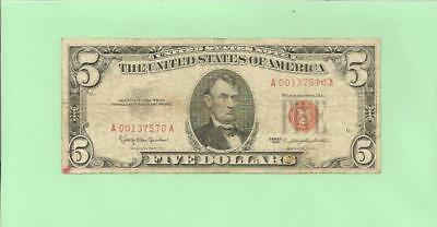 N1S   1963 $5  Red Seal U.s. Note  A 0013 7570 A .... 1963 $5  A-A