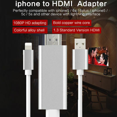 8 Pin To HDMI HDTV AV Adapter Cable For iPhone 8/x/xs7/7s/ 6 Plus iPad 4 3 Air