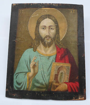 Greece JESUS Blessing  Antique Greek Orthodox Paper Icon on Wood