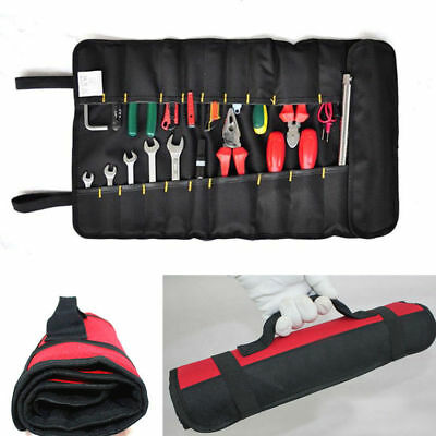 Canvas Reel Hardware Tools Roll Plier Screwdriver Spanner Case Pouch Bag Pocket