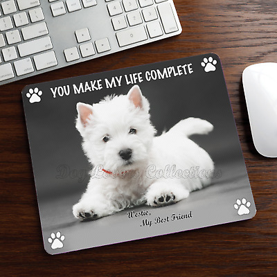 WESTIE MOUSE PAD Rubber Mat Westy Dog Portrait Art Loss Memorial Gifts Stuff