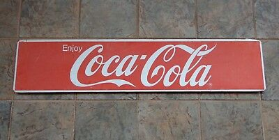 """Vintage Large Faded Coca Cola Coke Advertising Metal Sign 48"""" Wide x 10"""" Tall"""