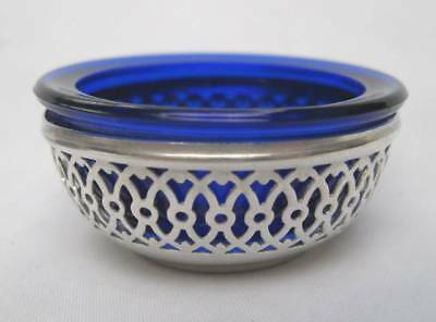 Vintage Webster Reticulated Sterling Silver Cobalt Blue Glass Open Salt Cellar