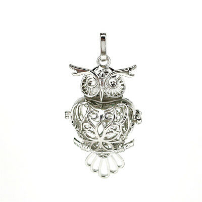 1PC Silver Alloy Big Owl Hollow Beads Cage Locket Pendant B57