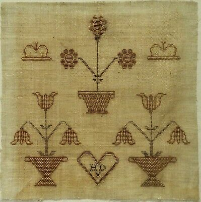 SMALL MID 19TH CENTURY FLOWER BASKET & CROWN SAMPLER INITIALLED HD - c.1850