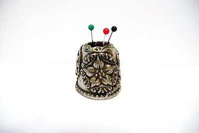 Thimble Pewter Nicholas Gish & Signed Pin Cushion W/3 Cameos Of Flowers Beauty!