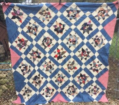 Antique Vintage Late 1800s Early 1900s Quilt Top ~ String Stars Hand Pieced