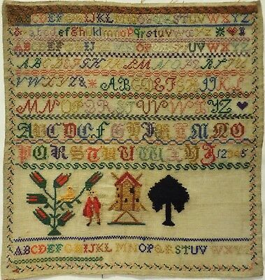 LATE 19TH CENTURY ALMOST FINISHED ALPHABET, WINDMILL & MOTIF SAMPLER - c.1895