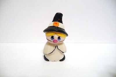 Thimble Handpainted Bisque Krc Figural Of Child In Witch's Costume