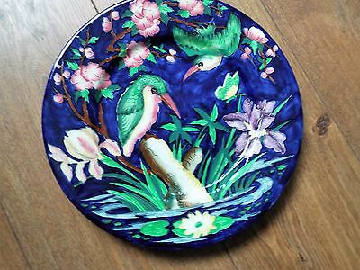 Maling Charger Hand Painted In Blue Kingfisher  Design  Excellent Condition
