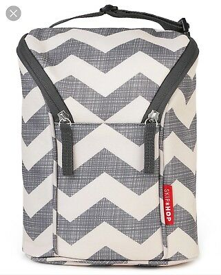 Skip Hop Insulated Breastmilk Cooler And Baby Bottle Bag Grab & Go Grey
