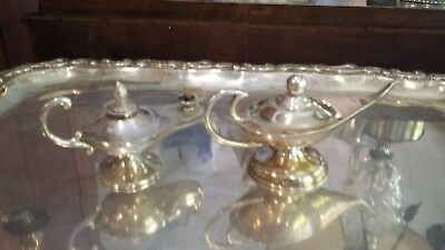 200g STERLING SILVER SET OF 2 RICH ALADINE LAMPS STYLE