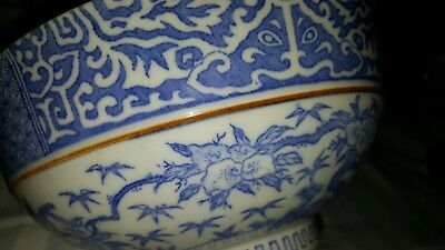 Antique Chinese Blue White Signed Porcelain Round Bowl 19th Century Estate Find