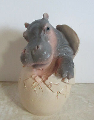 Corlett Collectables 1993 Baby Hippo Hatching From Egg Design Figurine Resin