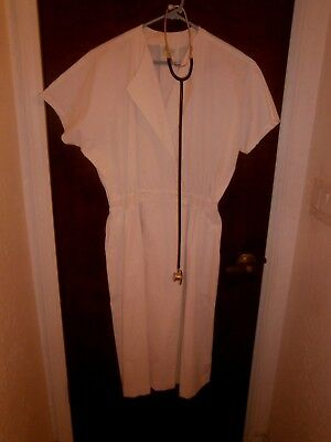 Halloween Costume Adult Vintage Nurses Uniform Dress & Real Stethoscope Size LG