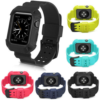 Sport Silicone Band Strap iWatch Case For Apple Watch Series 1 2 3 38mm / 42mm