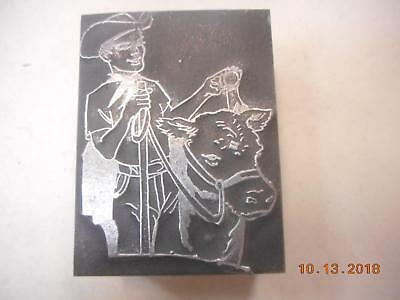 Printing Letterpress Printer Block, Cowboy w Cow In Harness, Printer Cut