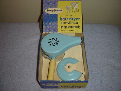 1950s HANDY-HANNAH BABY BLUE HAIR DRYER IN ORIGINAL BOX WITH STAND & WORKS