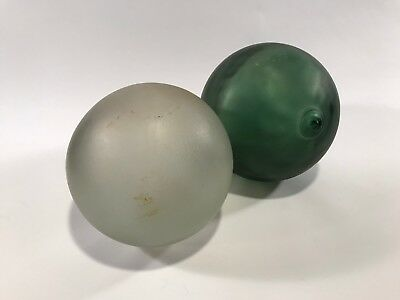 """2 Vintage Glass Net Fishing Floats Frosted Green Pontil 6"""" Round B14f"""