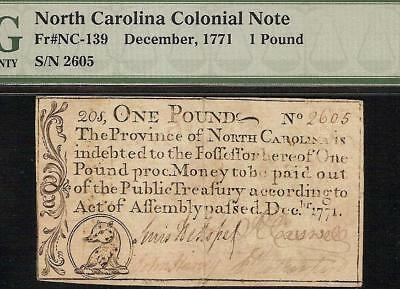 1771 Colonial Currency Ursa Minor Little Bear North Carolina Note Money Pmg