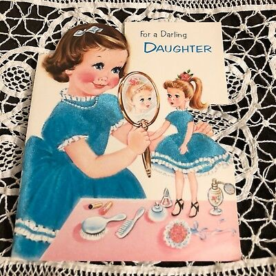 Vintage Greeting Card Birthday Girl Playing Dolls Doll Vanity Flocked Norcross