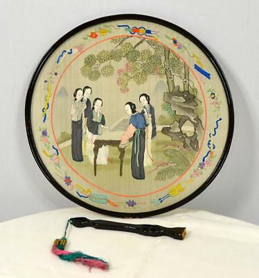 authentic Antique round hand-painted embroidery 2 sided lacquer Chinese hand fan