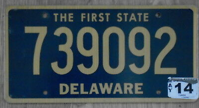 DELAWARE The First State Classic Gold on Blue License Plate 739092