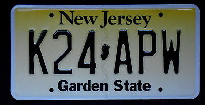 NEW JERSEY Embossed Fading Yellow Garden State License Plate K24 APW