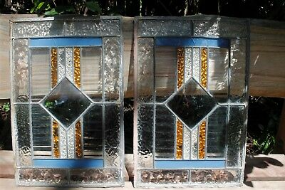 Antique Leadlight Window Panels, Stained Glass from Old Kitchen Dresser