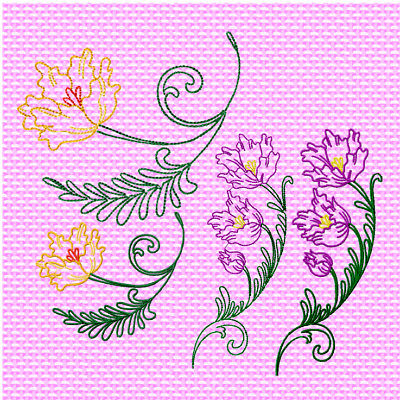 PARADISE FLOWERS 10 MACHINE EMBROIDERY DESIGNS CD 2stitching styles