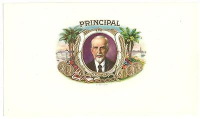 Principal Inner Cigar Box Label Lighthouse, Palm Trees, Gold Coins, Flowers,