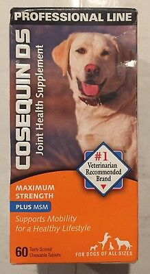 COSEQUIN DS Plus MSM For Dogs (60 Chewable Tablets) by Nutramax exp 2022