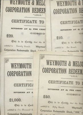 Weymouth und Melcombe Regis  10,20,50,1000  Pfund Redemable Stock 1918