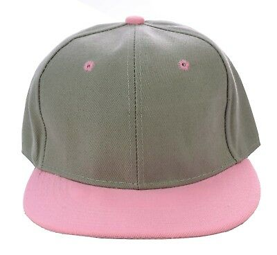 b73ab1f28d095 Snapback Snap BackFlat Peak Brim Bill Visor Baseball Two Toned Cap Hat PINK  GREY