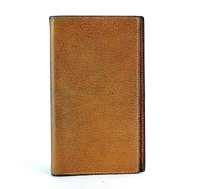 Auth Hermes Brown Jean Leather Agenda Day Planner Diary Notebook Cover 17×10 cm