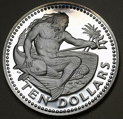 1973 Barbados 10 Dollars Neptune $10  KM# 26a Silver Proof Coin 1.12oz aFDC
