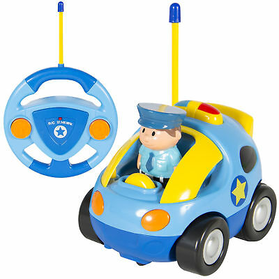 BCP 2 Channel Beginners Kids Remote Control Cartoon Police Car Perfect Gift