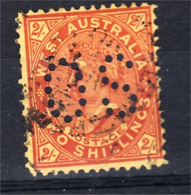 """Western Australia 2/- Red On Yellow Perf """"os"""" Used (K25)"""