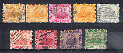 Western Australia Early Type Swans X 9 Different To 1/- Green Used (K27)
