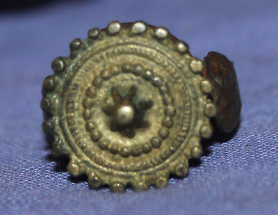 Antique folk medieval Greek hand made bronze ring