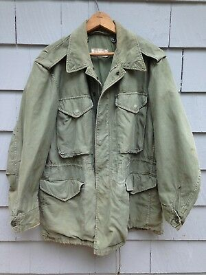 Vintage 1959 Us Army 9 Oz Sateen Field Coat/jacket Olive Green 107 Regular Small