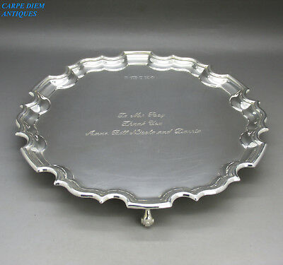 QUALITY HEAVY SOLID STERLING SILVER SALVER / WAITER TRAY, 355g, SHEFFIELD 2000