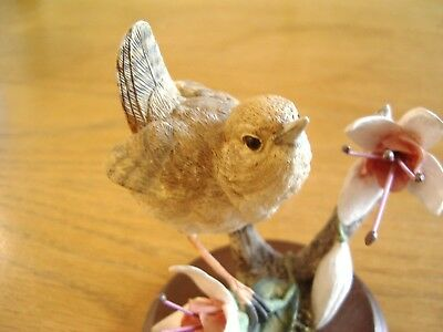 Country Artists Hand Crafted Wren With Fuchsias Ornament—On Wooden Plinth.