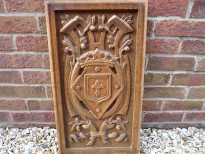 Vintage French Breton Carved Wood Panel High Relief Deep Carving Superb Coronet