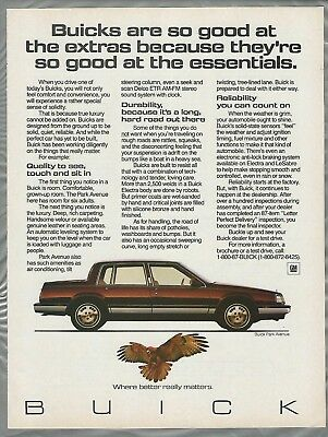 1987 BUICK PARK AVENUE advertisement page, Buick Park Avenue sedan
