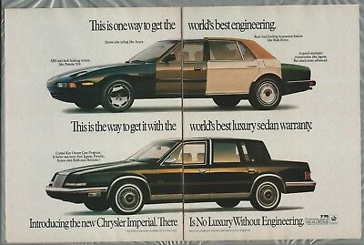 1990 CHRYSLER IMPERIAL 2-page advertisement, car built from Rolls Royce Jag etc