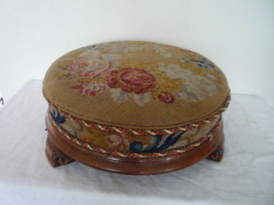 Original Antique English Tapestry Needlepoint Top Floral Foot Stool Footstool