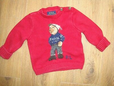 Lovely Polo Ralph Lauren Cotton Knit Red Teddy Jumper Sweater Top Age 9 Mths